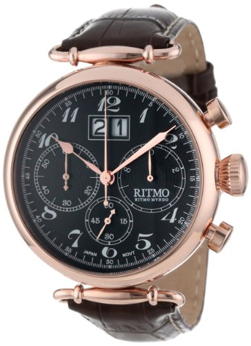 Ritmo Mundo Unisex 701/5 RG Brown Corinthian Classic Quartz Chronograph Three Oversized Subdials Watch