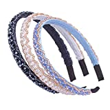 AWAYTR Hair Hoop Beaded Headband Wide Sparkling Hair Band 3Pcs Set