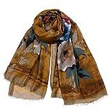 GOLDT1 Sciarpa Leggera Leggero Fiore Stampe Scialle Copricapo Nappe Scialle Eleganti Stagioni Moda Donna Freddo Aria condizionata Sciarpa Spiaggia Protezione Solare (Color : Camel)