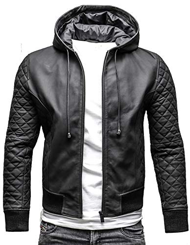 Crone Next Level Herren Echtleder Hoodie Bomberjacke Lederjacke mit Kapuze (XL, Next Level - Matt Schwarz)