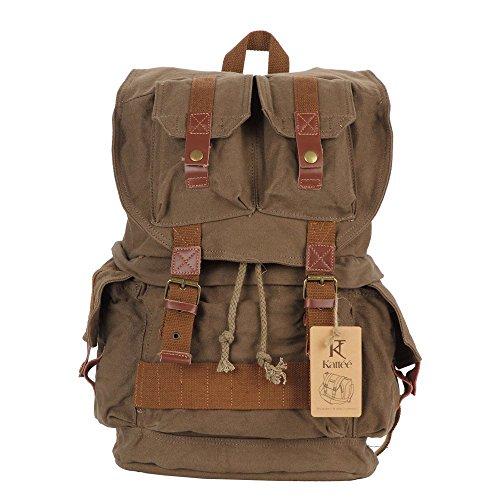 Kattee - Estilo Militar, lona, mochila para cámara réflex como Sony Canon Nikon Olympus