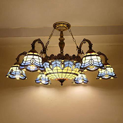 Lámpara techo estilo candelabro 6 brazos Tiffany