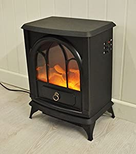 New Black 1800W Free Standing Electric Stove Fireplace Fire Heater Cast Effect