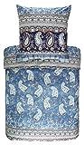 Bassetti Anacapri C1 - Biancheria da Letto in Raso di Cotone makò, 100% Cotone, Azzurro, 1 Bettbezug 200 x 200 cm + 2 Kissenbezüge 80 x