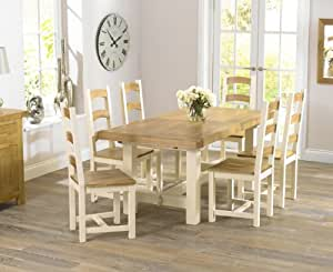 Country Painted Solid Oak Furniture Extending Dining Table With 6 Marino Chai