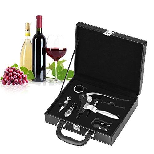 INKERSCOOP 6 Stück Wein Öffner Weinöffner Set (Wein Flaschenöffner, Tropfenfänger, Folienschneider, Weinstopfen, extra Korkenzieher, Weinausgießer) mit Leder-Geschenk-Box
