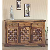 Shree Decoart Sheesham Wood Books Storage Side Board Cabinet for Home with 3 Drawers (Teak Finish)