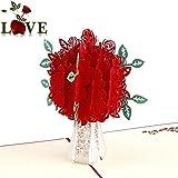 honearn 3D Pop up Grußkarte rot Rose Blume, fantastische Blumen handgefertigt Geschenk Karte für Valentinstag Geburtstag Jahrestag Einladung Hochzeit Love Geschenke
