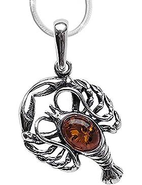 Sternzeichen Krebs Anhänger Amulett aus 925er Silber mit Bernstein 1,2mm Schlangenkette 45cm Halskette 04