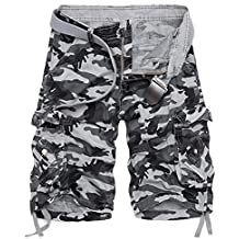 47f2870e8 AYG Bermudas Cargo Vintage Pantalon Corto Trabajo Hombre Camuflaje Pantalones  Cortos de Bolsillos