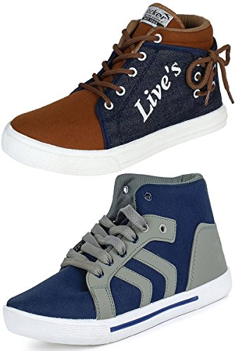 CLYMB Men's All Weather-hit Combo Pack of 2 Denim Grey Sneaker Shoes (10, Denim Grey)