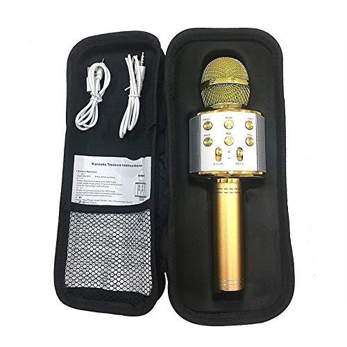 Micrófono De Karaoke, Altavoz Inalámbrico, Micrófono Bluetooth Para La Grabación Del Teléfono De La Computadora Youtube, Micrófono De Karaoke Para El Hogar, Oro