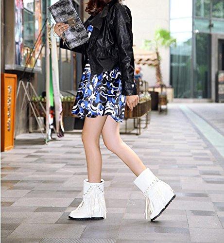 ZQ@QXIn autunno e in inverno, testa tonda e tavola di acqua salire entro il alta scarpe tacco elegante e versatile Cilindretto corto ladies boot White