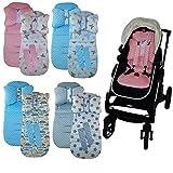 Sitzauflage Kinderwagen Kindersitzauflage MINKY Buggy Auflage Wendeauflage Babysitz (ohne Kinderwagen) (Rosa mit Schmetterling)