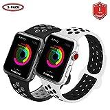 FunBand Cinturino Apple Watch, Apple Watch Band Strap Cinturino Orologio in Morbido Sport Silicone Sostituzione Cinghia di Polso con Breathable Holes per Apple Watch Serie 3,Serie 2,Serie 1