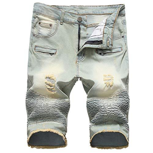 YURACEER Kurze Hosen Herren Sommer Cowboy Shorts Shorts Männer Klassische Blau Atmungs Denim Jeans Kurze Für Männlichen Sommer Plus Größe (Kein Gürtel) x1