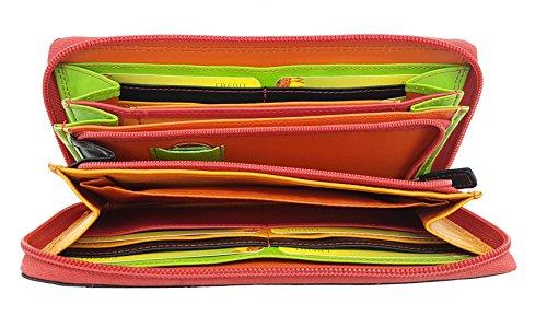 Leder Damen Geldbörse mit Reißverschluss lang Portemonnaie feines Kalbsnappaleder Jockey Club Rio black tropic tricolor mit farbenfrohen Innenleben & Smartphonefach -