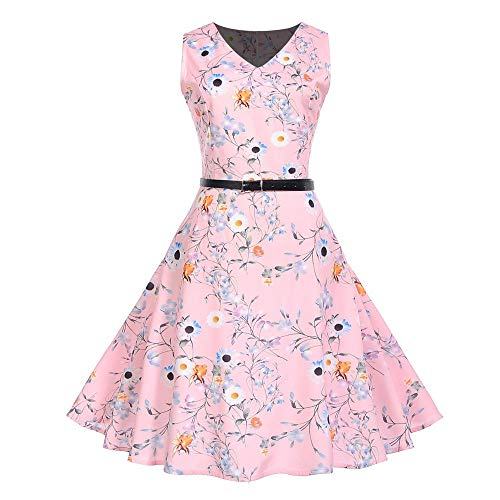 (MRULIC Prinzessin Abendkleid Vintage Kleid Cocktailkleider (EU-36-38/CN-M, N-Rosa))