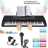 MK-2089 Clavier numérique 61 touches avec fonction d'enregistrement dynamique, fonction de lecture AUX USB MIDI MP3 11 Demo-Songs microphone Noir