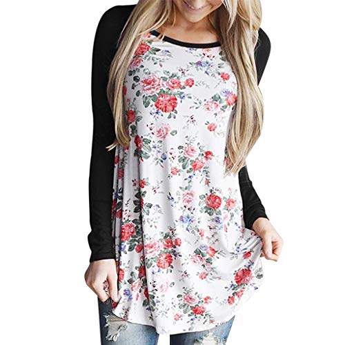 yazidan Damen Langarmshirt T-Shirt Frauen Blumendruck Rundhals Bluse Solide Tunika Oberteile Tops