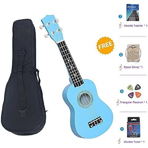 SkySea Serie de Colores Ukelele de Soprano de 21 Pulgadas Pequeña Guitarra para Principiantes de Música Guitarra Hawaiana con Bolsa y Sintonizador (Cielo