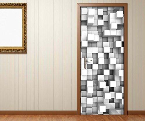 Türaufkleber schwarz weiss 3D Effekt Mosaik Wand Block Quadrate abstrakt Kunst Tür Bild Türfolie Druck Aufkleber 15A2162, Türgrösse:67cmx200cm -