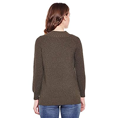 CAMEY Women Green High Neck Twisted Cable Knit Girl Print Pullover Sweater