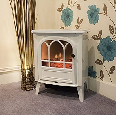 Garden Mile® 1.8Kw Traditional White Cast Iron Effect Log Burner Electric Stove Flame Effect Insert Fire Room Heater Wood Burner 2 Heat Settings