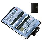 Porte Carte de Crédit Visite cartes bancaires de cartes d'affaires les cartes d'identitéEn Pochette Femme Homme 24 cartes (Noir)