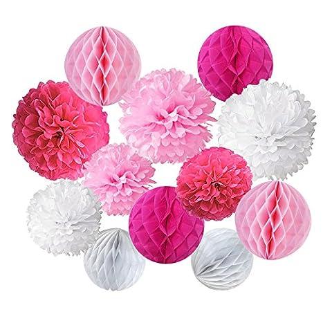 Cocodeko 12 Stück Papier Pompoms und Wabenbälle Dekorpapier Kit für Geburtstag Hochzeit Baby Dusche Parteien Hauptdekorationen - Rosa, Pink und (Blumen Pappteller)
