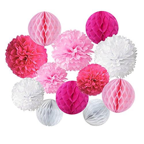 Cocodeko 12 Stück Papier Pompoms und Wabenbälle Dekorpapier Kit für Geburtstag Hochzeit Baby Dusche Parteien Hauptdekorationen - Rosa, Pink und Weiß (Bridal Shower Dekoration Ideen)