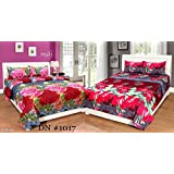 STOP N SHOPP Super Home Set Of 2 Grace Cotton King Size Double Bedsheet With 4 Pillow Covers Combo (PACKOF2_1, Multicolour)