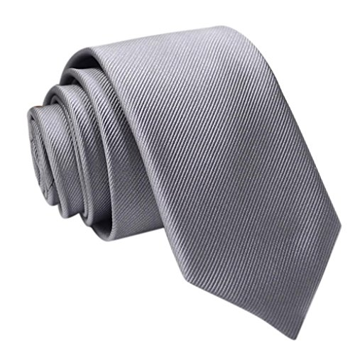 Coolster Herren Solid Krawatte Business Suit Slim Krawatten Casual Hochzeit Krawatten (Fein gestreift E)