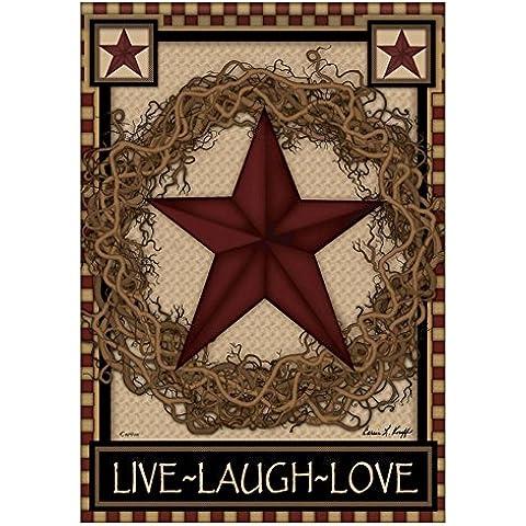 Primitive Barn Country, motivo: ghirlanda di stelle, motivo: Live, Laugh, Love