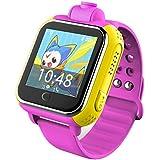 Smartwatch para Niños,Reloj de Seguimiento GPS con Pantalla Táctil Compatible con Teléfonos Inteligentes Como Samsung, HTC, Sony y iPhone (Rosa)