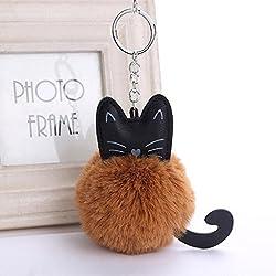 Colorido elegante cute llavero bolso de mano, Y56encanto moda piel artificial Fluffy gato clave cadena/llavero, bolso de mano/teléfono/coche colgante, marrón