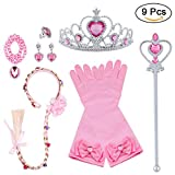 Vicloon Accesorios de Princesa Dress Up para Niñas Trenza Varita Mágica Corona Diadema Collar Guantes para Cosplay Carnaval Fiesta de Cumpleaños (Rosa - 9pcs)