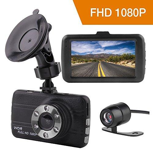 Full HD 1080P Dashcam Autokamera, Hanbee Video Recorder mit 3 Zoll LCD Bildshirm 170° Weitwinkelobjektiv, G-Sensor, Bewegungserkennung, Parkmonitor, WDR, Loop-Aufnahme, Nachtsicht und 24h Überwachung