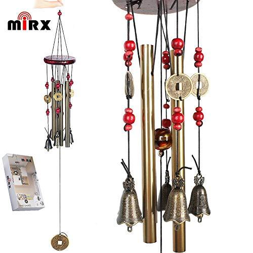 Windspiel, Bronze, 4 Metall-Zylinder, 5 Glocken, 60cm lang, für Garten, Ornament für den Außenbereich