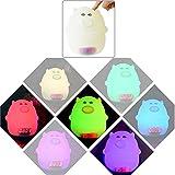 Espeedy Reloj despertador con luz nocturna,Niños LED Night Light Silicone Cartoon Pig Alarm Clock USB Cargador Hora Pantalla de temperatura Lámpara para Kid Dormitorio regalo