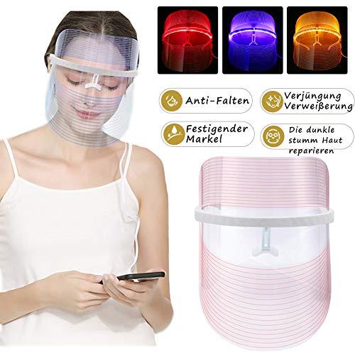 3 Farben LED Gesichtsmaske Photonen-Therapie Hautverjüngungs Lichttherapie Maske,Anti Falten Whitening Akne EntfernungMaske,LED Gesichtsmaske, Schönheit Gesichtspflege -