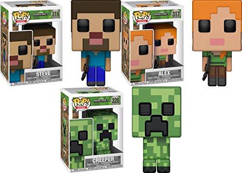 Funko POP! Minecraft: Steve + Alex + Creeper – Stylized Video Game Vinyl Figure Set NEW