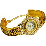 Gauri's A Traditional Beautiful Hand Craved Watch with Zircon Gold Plated Bracelet For Girl's AIW704
