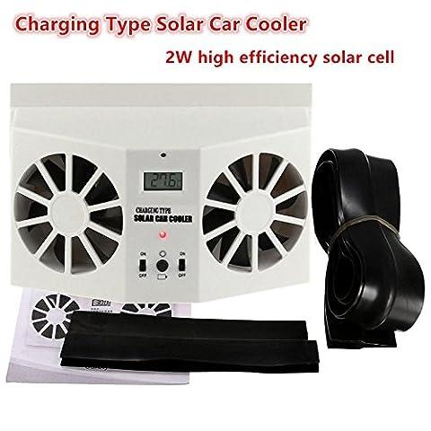Tocoss(TM) Solaire Sun Power voiture automatique avant / arri¨¨re Fen¨ºtre Air Vent cool ventilateur de refroidissement Syst¨¨me de ventilation du radiateur peut utiliser la batterie voiture Purificateur d'air