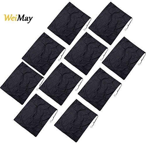 Weimay 10pcs sacchetto porta scarpe viaggio borsa morbida in tessuto non tessuto antipolvere drawst ring aufbewahrung bottino, tessuto non tessuto, nero, 36 x 28.5cm
