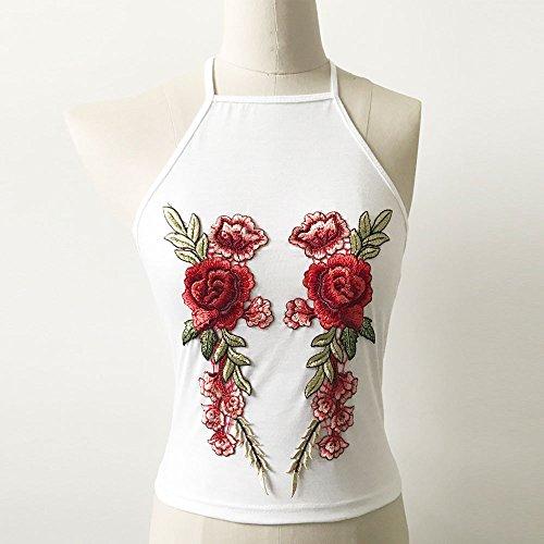 Damen Tops Strene Loveso Damen Frauen Rose Appliques Sleeveless Tanks Weste Tops Shirts Weiß