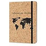 Navaris Cuaderno con cubierta de corcho - Diario de viaje ecológico libreta bloc de notas para el hogar o la oficina - Diseño mapamundi