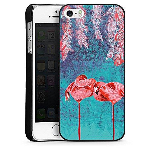 Apple iPhone 5s Housse étui coque protection Été Flamands roses Rose vif CasDur noir