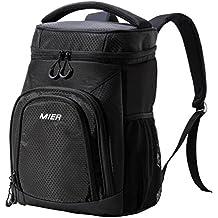 MIER Lightweight Lunch Bag Mochila fresca para pícnics, camping, gimnasio, viajes, senderismo, a prueba de fugas, 24 latas, negro
