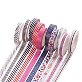 #8: Hexawata Colored Adhesive Masking Tape Roll Multi Patterns Fine Washi Decor Craft Scrapbooking Sticky Tape 9 Rolls